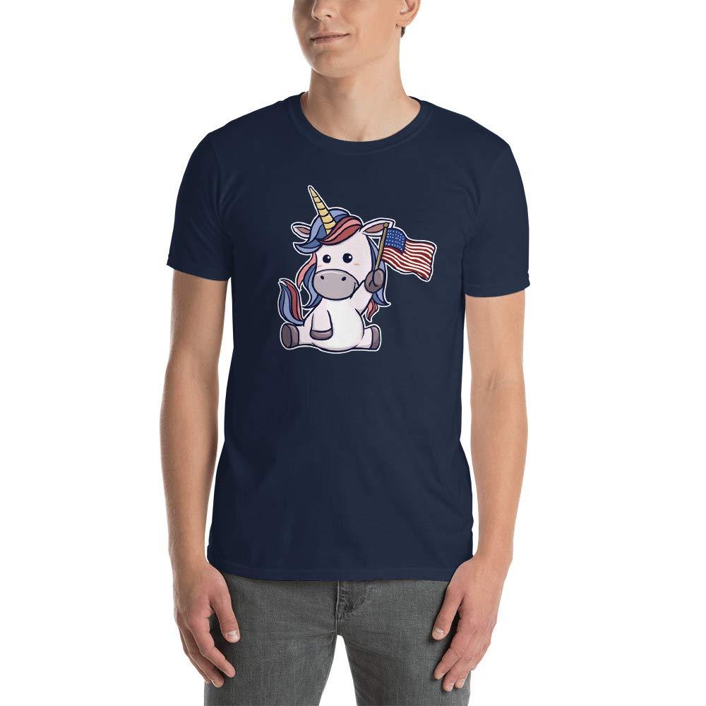 Unicorn Holding A Flag Short-Sleeve Unisex T-Shirt