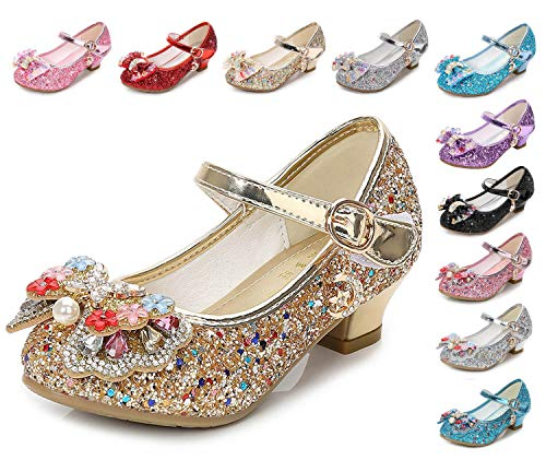 - Kinkie Little Girls Ballet Mary Jane Flats Sparkle Bowknot Ballerina Wedding Party Princess Dress Shoes Gold-1 3.5 M US Big Kid