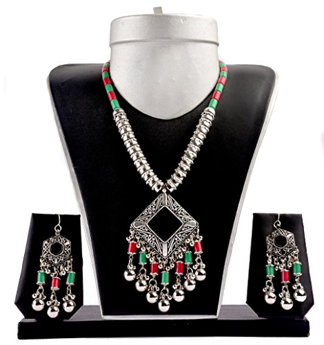 [Megh Craft Women Indian Tribal Silver Oxidized Boho Gypsy Ethnic Fashion Jewelry] (Banjara Dance Costumes)