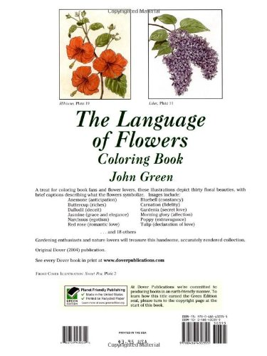The Language Of Flowers Coloring Book Dover Nature John Green 8601419685646 Amazon Books