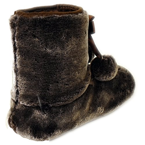 Womens Bree Fluffy Boot 3 Slippers Dunlop Brown Ladies Slipper Furry Ankle 8 Bootee fZ8wq