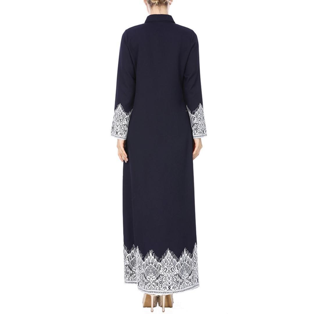feiXIANG Mujeres Musulmanas Encaje Trimmed Front Abaya Muslim Maxi Kaftan Kimono (Amarillo, XL): Amazon.es: Hogar
