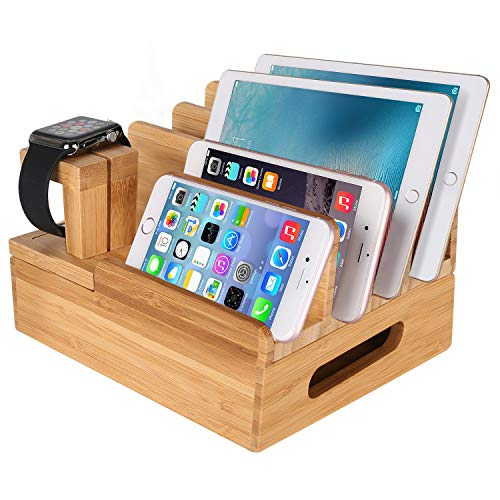 (MOZOWO Bamboo Wood Multi-Device Desktop Charging Dock Station Charger Holder Cradle Stand Compatible iPhone Xs MAX XR X 8 7 6 6S Plus iPad Mini Pro Air Apple Watch/iWatch 2 3 4 Samsung Smartphones)