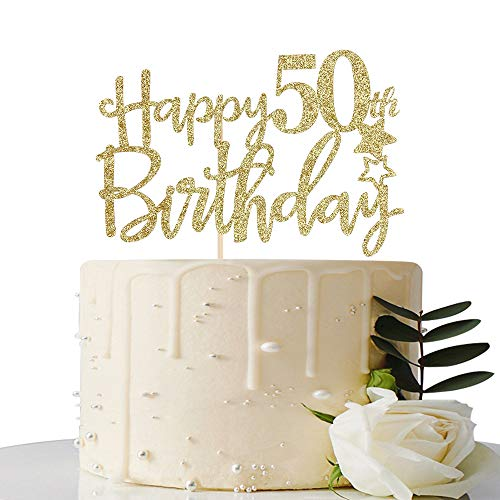 Gold Glitter Happy 50th Birthday Cake Topper,Hello 50,Cheers to 50 Years,50 & Fabulous Party Decoration