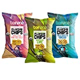 Barnana Organic Plantain Chips - 3 Pack Plantains Variety Pack - Lime, Pink Salt, Vinegar - One 5 Ounce Bag Each - Salty, Crunchy, Thick Sliced Snack - Best Chip For Your Everyday Life