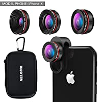 NELOMO Universal Professional HD Camera Lens Kit for iPhone X/8/7Plus/7/6sPlus/6s, Samsung S8+/S8 and other Cellphones (230° Fisheye Lens, 0.65X Super Wide Angle Lens, 15X Super Macro Lens)