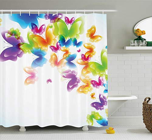 Ambesonne Butterflies Decorations Collection, Group of Butterflies Band in Radiant Rainbow Colors Hope Summer Garden Art Print, Polyester Fabric Bathroom Shower Curtain Set with Hooks, Multi