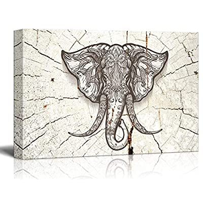 Rustic Style Elephant Head on Wood Effect Background, Classic Design, Delightful Technique