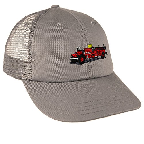Antique Fire Truck Embroidery - Antique Fire Truck Embroidery Design Low Crown Mesh Golf Snapback Hat Grey
