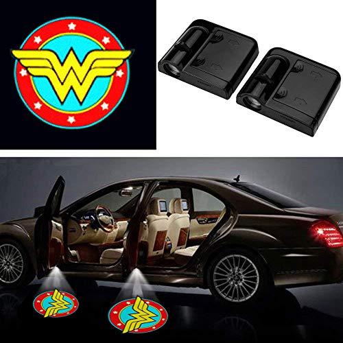- Wonder Women Auto Sport Car Door Lamp, No Drilling Wireless Magnetic Car Door Step LED Welcome Logo Shadow Ghost Light Laser Projector Lamp- 2 Pcs