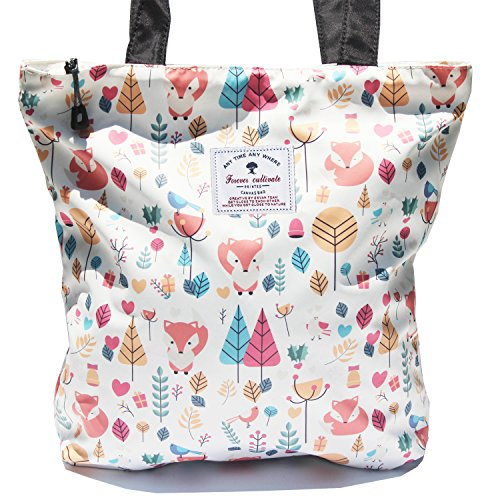 Waterproof Tote Bag,Original Floral Leaf Lightweight Fashion Shoulder Bag Lunch Bag for Shopping Yoga Gym Hiking Swimming Travel Beach ([W] Fox)