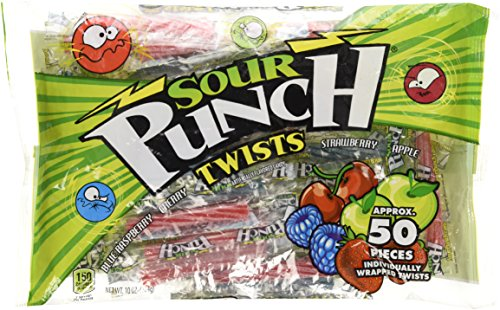 Sour Punch Twists, 50 Individually Wrapped Twists, 4 Flavors - Blue Raspberry, Cherry, Strawberry, Apple, 10 oz (Sour Punch Straws)