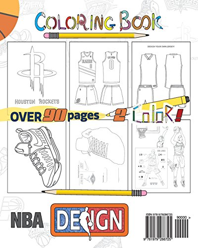 NBA Design: Shoes, Logos and Jerseys: The Ultimate Creative Coloring Book for Adults and Kids! 2
