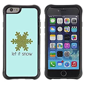 Suave TPU Caso Carcasa de Caucho Funda para Apple Iphone 6 / Snowflake Blue Gold Text Winter / STRONG