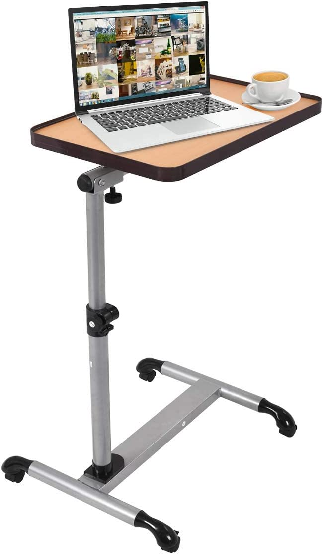 DREAMADE Laptoptisch h/öhenverstellbar Pflegetisch mit Rollen 55-90 Beistelltisch Projektionstisch cm 52 x 33 x Betttisch Notebooktisch Klapptisch
