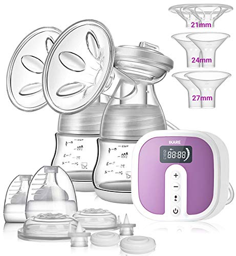 Double Electric Breast Pump [Hospital Grade] by IKARE, Portable Ultra Quiet Rechargeable Milk Pump with Accessories for Travel & Home