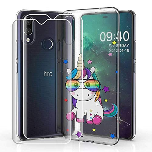 Compatible for HTC Desire 19 Plus (2019) Case with 2 Pack Glass Screen Protector Phone Case for Men Women Girls Clear Soft TPU with Protective Bumper Cover Case for HTC Desire 19 Plus (2019) -Unicorn