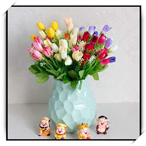 Wholesale Flower Dutch (HATABO 1Pcs Artificial Dutch Tulip Bouquet Silk 15 Head Mini Tulips Fake Plants DIY Art Flowers Home Wedding Decorations (Random))