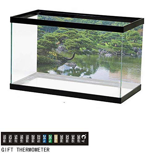 Aquarium Background,Japanese,River Landscape with Trees Flowers Stones Silence in Asian Natural Beauty Garden Theme,Green Fish Tank Backdrop 36