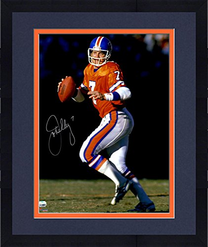 """Framed John Elway Denver Broncos Autographed 16"""" x 20"""" Throwback Jersey Dropback Photograph - Fanatics Authentic Certified"""