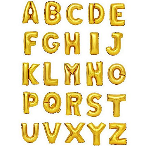 Zeato Single Alphabet Letter A Air Inflation Aluminum Foil Film Balloon [Non-Floatable] Celebration Party Multiple Occasions Home Decoration Supplies (Golden,16 inch) -