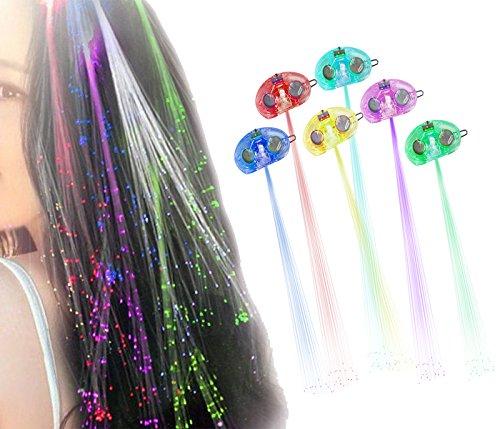 Ilyever 10 Pack Lights-up Fiber Optic Led Hair Lights Flashing Alternating Multicolor Hair Barrette Clip Braid - Party Supplies