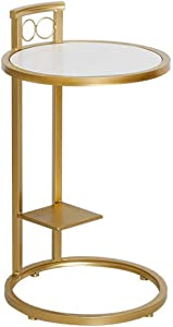 Round Marble Couch Bedside Side Table - Nordic Furniture Golden Wrought Iron - Bedroom/Hallway/Living Room Marble Nightstand End Table