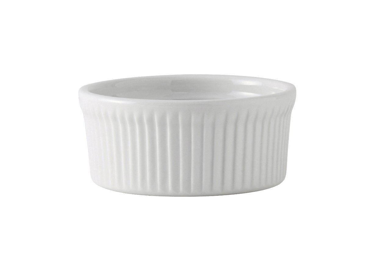 Tuxton BPX-1002 Vitrified China Souffle, 10 oz, 4-1/2'', Porcelain White (Pack of 12), Oven-Microwave-Pressure Cooker Safe; Freezer to Oven Safe by Tuxton