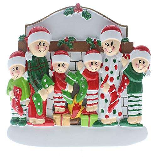SMYER Christmas Table Topper Decoration,Personalize Tabletop Family of 6 Christmas Ornaments 2019,Hand Personalized Family Christmas Ornament,Table Topper with Snowman,Free Pen (TableTopper of 6) ()