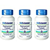 Life Extension Optimized Folate (L-Methylfolate), 1000 mcg 100 vegetarian Tablets (