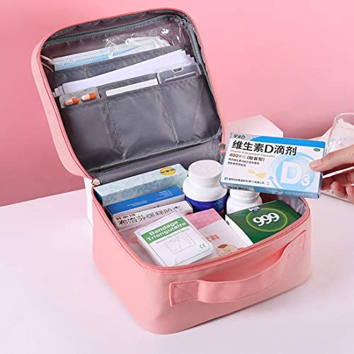 Zippered First Aid Bag Medication Organizer Emergency Empty Pouch Carrier with 5 Pockets Oxford Cloth Travel Medicine Pill Case with Handle Medical Embroidered Bags 9.84 x 7.87 x 5.31 inches (Pink)