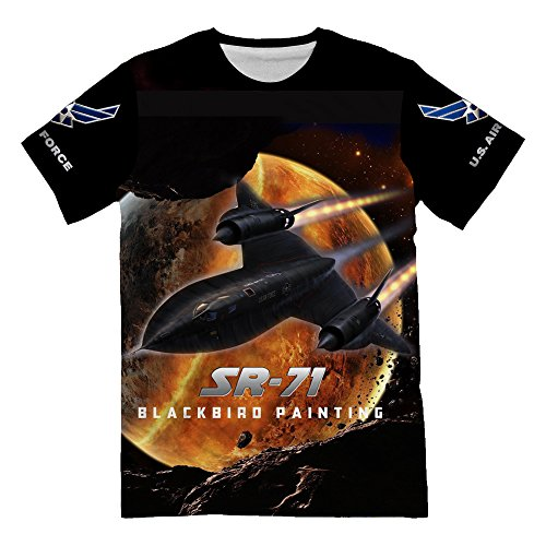 Personalized USAF Air Force Fighter Lockheed SR-71 Blackbird Painting Shirts for Mens 3d Allover Printed Military Lover Short Sleeve Top Tees (Boy Scout Mens Short Sleeve Polyester Microfiber Shirt)