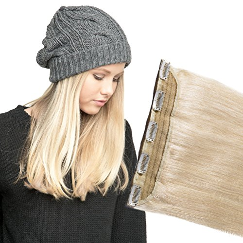 (Platinum Blonde Clip in Human Hair Extension One piece 16inch 3/4 Full Head Natural Long Straight Soft Real Remy Hair 5 Clips Easy to wear (#60 45g))
