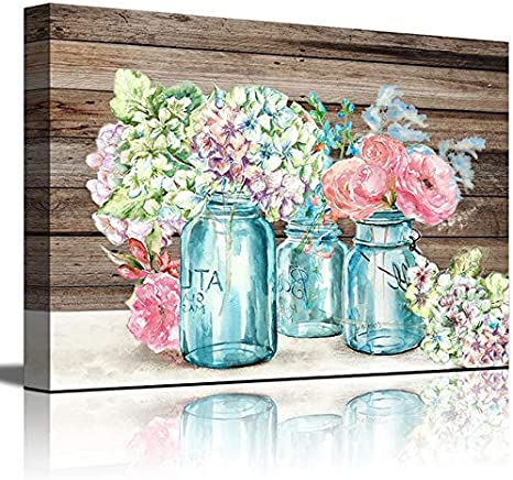 Amazon Com Wall Art For Kitchen Watercolor Mason Jar Floral Wall Decor Bathroom Bedroom Decor Prints Canvas Wall Art Small Framed Artwork For Walls Vintage Paintings On Canvas Prints Posters Prints