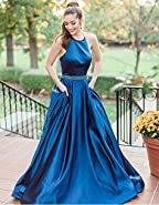 MARSEN Halter Satin Long Prom Gown Beaded Open Back A Line Evening Formal Dress