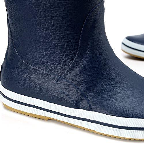 Hellozebra Mens Mid-calf Waterproof Rubber Rainboots Ywpy1W