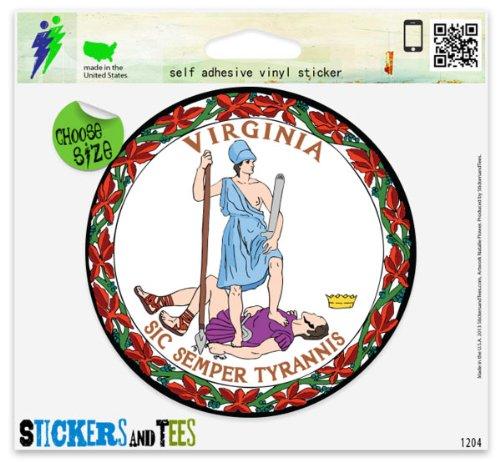 Virginia State Seal Flag Car Sticker Indoor Outdoor 4