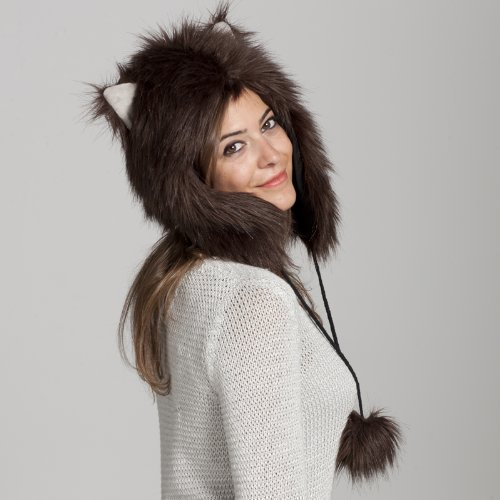 Faux FUR ANIMAL HATS Brown Mouse gray ears HOODS WOLF SNOW WINTER Ski ()