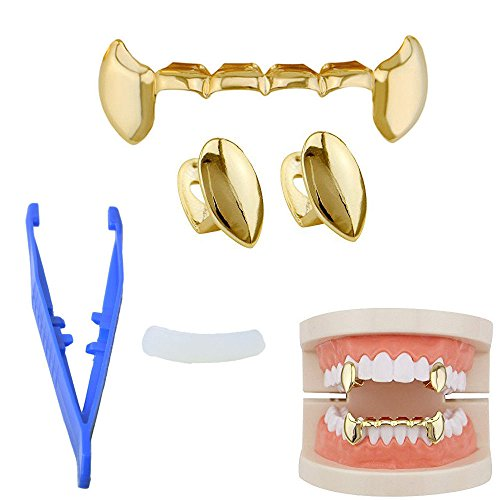 KingFurt Hip Hop Bling Vampire lava Teeth Fangs Grillz Caps Top & Bottom Gold Plated Dental Grill -