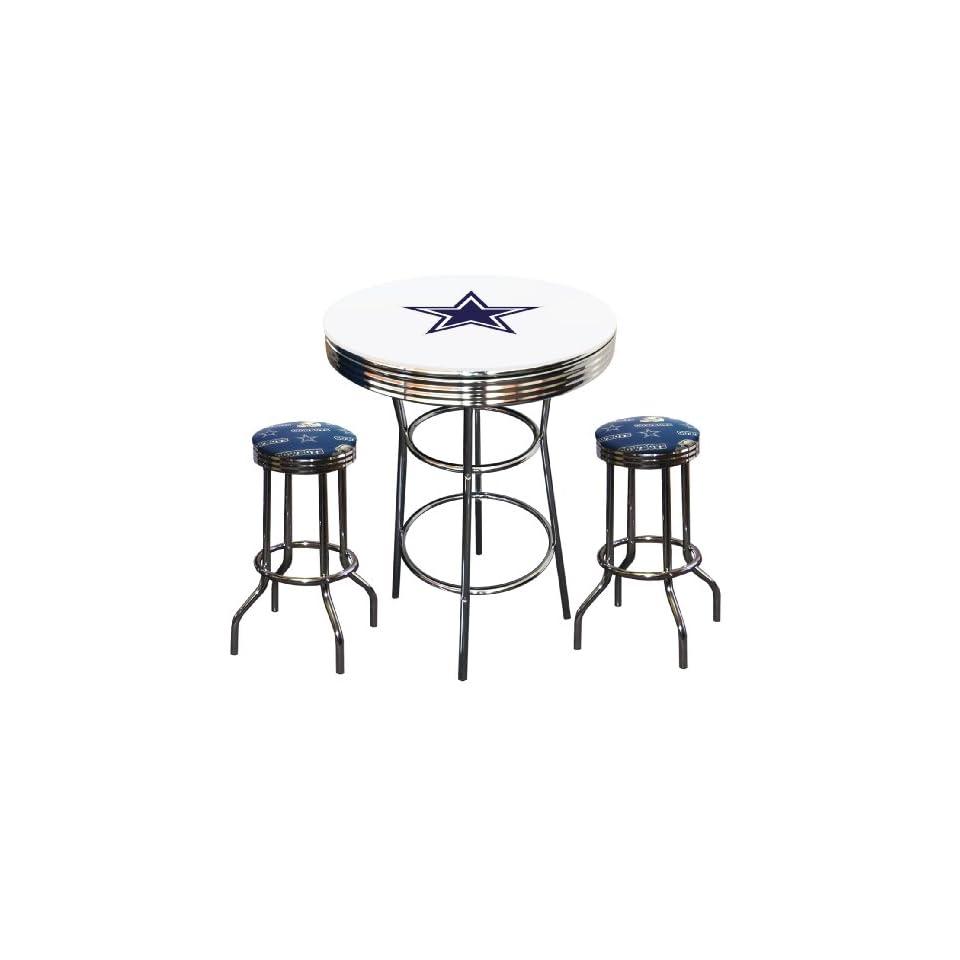 3 Piece Dallas Cowboys Logo Chrome Finish White Pub Table w/ 2 Bar Stools   Home Bars