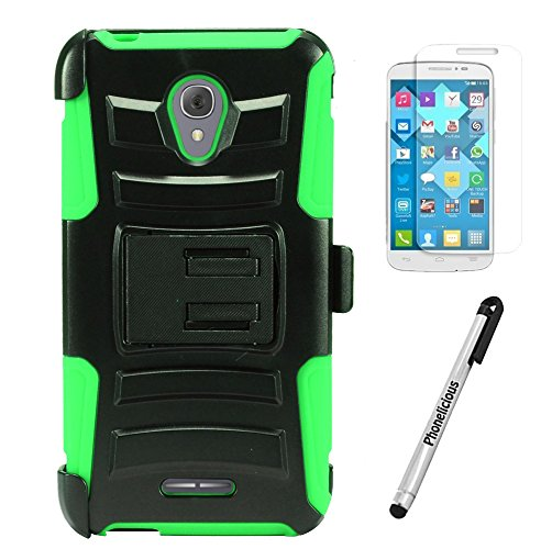 ALCATEL RAVEN A574BL Case, Phonelicious Xtreme Armor [Heavy Duty] Hybrid Dual Layer Kickstand Belt [Holster Clip] Combo Rugged Tuff Free Screen Protector & Stylus (GREEN XC)