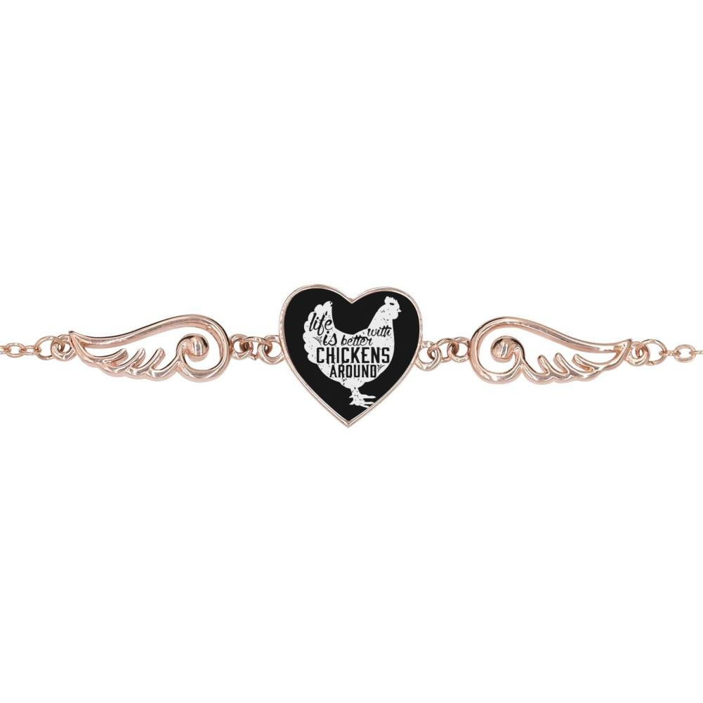 LUQeo Life Is Better With Chickens Personalized Design Heart Charm Bracelet Jewelry
