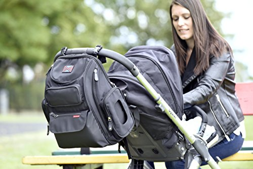 Bag Nation Diaper Bag Backpack with Stroller Straps, Changing Pad and Sundry Bag - Black