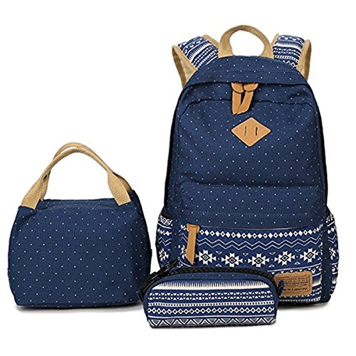HITOP Geometry Polka Dots Casual Canvas Backpack + Lunch Bags + Pen Case Bags Set (Blue)