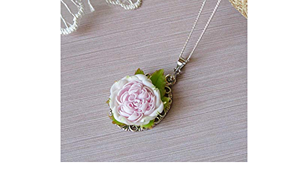 rouge romantic wedding jewelry for fashion bride silk roses flowers artistic jewelry Pastel pink silver pendant rose for stylih bridesmade