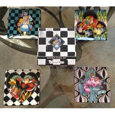 Disney Parks Alice in Wonderland Ceramic Salad Dessert Plate Set of 4 by Disney