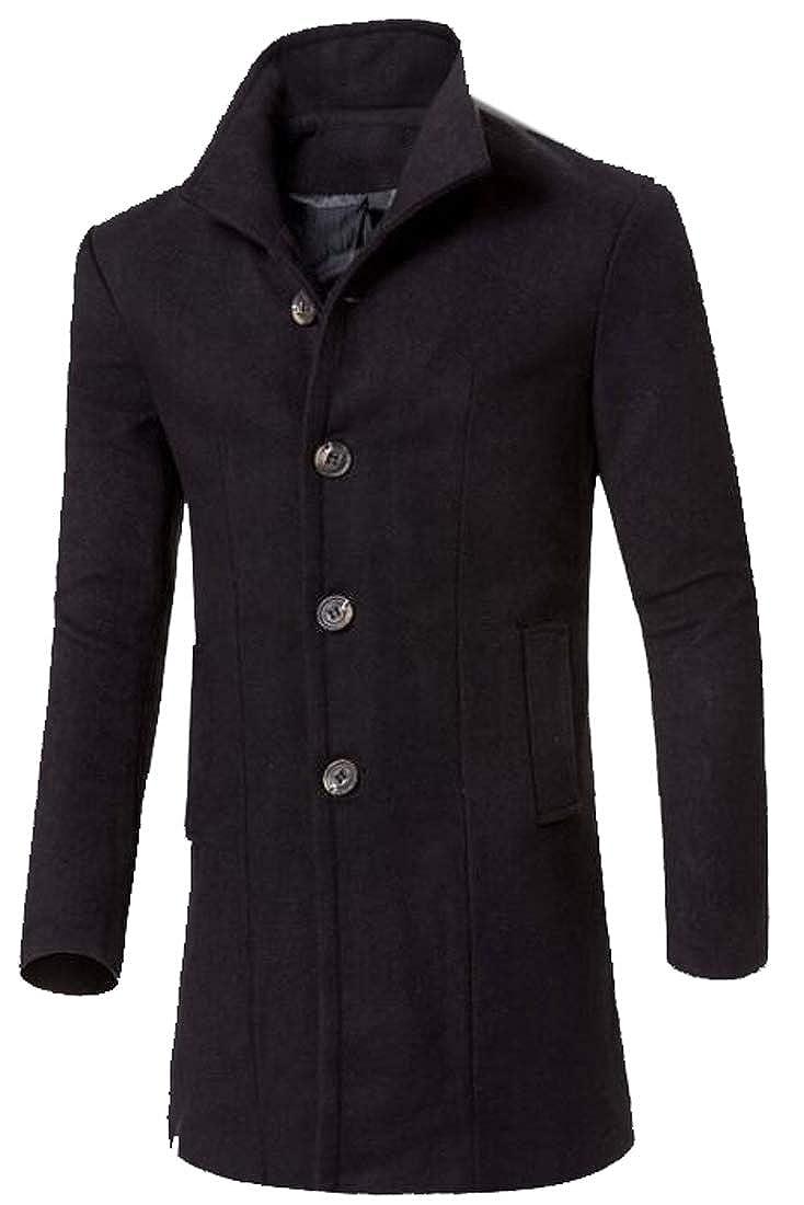 Black Jofemuho Men's Lapel Longline Slim Single Breasted Wool Blend Trench Pea Coat Jacket