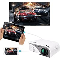 Video Projector(Warranty Included),XINDA Wired Mirror Screen for iPhone Projector LCD 1200 Lumens Mini Multi-media Portable Home Projector Movie Projector with Free HDMI Cable -White