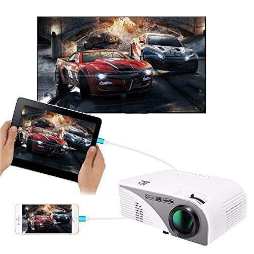 Video Projector(Warranty Included),XINDA Wired Mirror Screen for iPhone Projector LCD 1200 Lumens Mini Multi-media Portable Home Projector Movie Projector with Free HDMI Cable -White by XINDA
