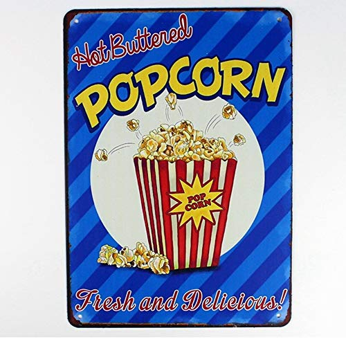 Easy Painter Metal Popcorn Sign, Vintage Metal Signs, for Restaurant Kitchen Home Bar Coffee Yard, 20x30cm